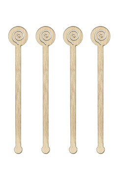 "Rührstab ""Spirale"" aus Bambus, 15cm, 100 Stk."
