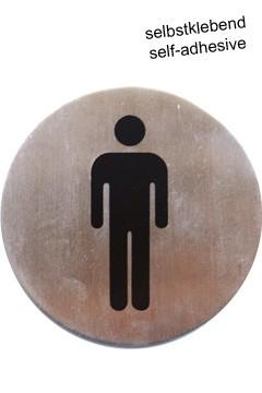 """Hinweisschild """"Herren"""" aus Edelstahl, Ø7.5cm, 1 Stk."""