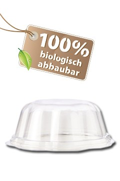 BIO Deckel für Eisbecher aus PLA, 210ml, transparent, 50 Stk.