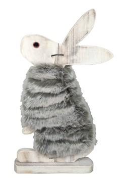 Hase mit Fell, aus Holz, 42cm, 1 Stk.