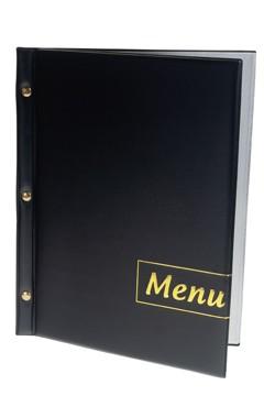 """Speisekarte (PVC) """"Menu"""" schwarz, 8 Seiten, A4, 1 Stk."""