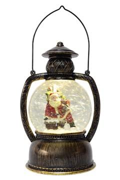 Schneelaterne mit Santa, mit LED, bronze, 25cm, 1 Stk.