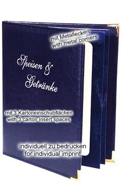 Kunstlederkarte m. 3 Kartoneinschubfl. Dunkelblau 1 Stk.
