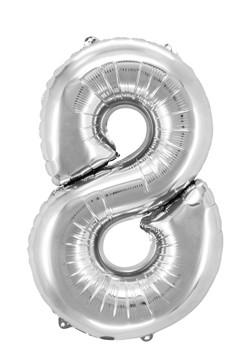 "Folienballon ""Zahl 8"", silber, ca. 81cm, 1 Stk."