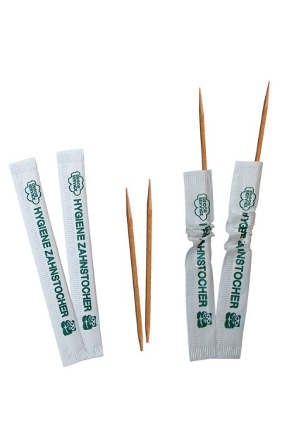 Zahnstocher aus Holz, rund, in Papier gehüllt, Ø2mm, 65mm, 1000 Stk.