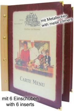 Folienkarte (PVC) weinrot, mit Holzrücken, 6 Seiten, A5, 1 Stk.