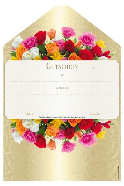 """Geschenkgutschein """"Rosen"""", 19x28.5cm, 25 Stk."""