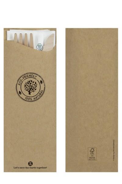 Besteckset aus Holz, 17.5cm, inkl. Bestecktasche, 25 Sets