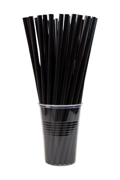 BIO Trinkhalme aus PLA, schwarz, Ø8mm, 25cm, 150 Stk.