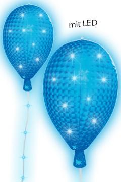 LED Ballon blau,mit 8 Leuchtfunktionen, ca. 53cm, Ø35cm, 1 Stk.