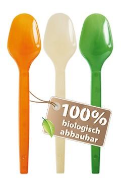 BIO Dessert- und Eislöffel aus Biokunststoff, bunt, 12.5cm, 300 Stk.