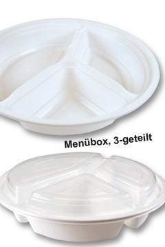 Menüboxen weiß, Ø24cm, 6cm, 3-geteilt, 25 Stk.