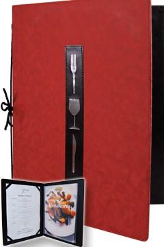 """Speisekarte """"Symbole"""", rot, A4, mit 8 Einschüben, 1 Stk."""