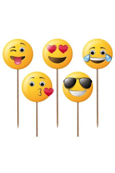 "Deko-Picker ""Emojis"", 12cm, 100 Stk."