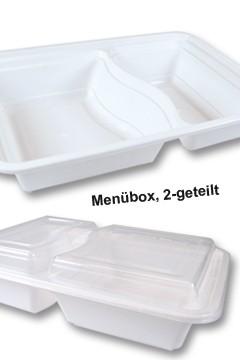 Menüboxen weiß, 22x15x6cm, 2-geteilt, 25 Stk.