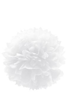 Pompon aus Papier, schwer entflammbar, weiß, Ø40cm, 1 Stk.