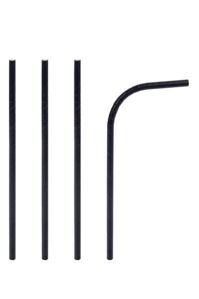 Trinkhalme aus Papier, flexibel, schwarz, Ø6mm, 24cm, 100 Stk.