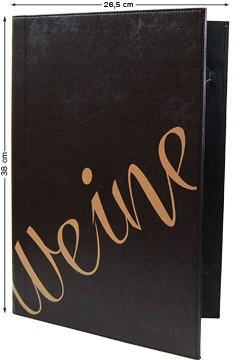 Weinkarte dunkelbraun, Übergröße 38x26.5cm, 2 Einschübe A4, 1 Stk.