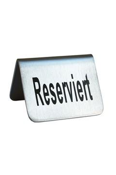 """Tischaufsteller """"Reserviert"""" aus Edelstahl, 5.2x3.5cm, 1 Stk."""