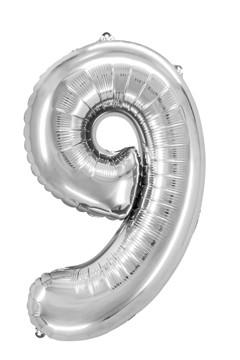 "Folienballon ""Zahl 9"", silber, ca. 76cm, 1 Stk."