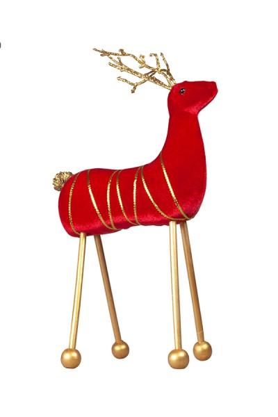 Hirsch aus Samt, rot, 34 cm