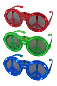 "Partybrille ""Peace"" mit LED, rot,blau,grün 1 Stk."