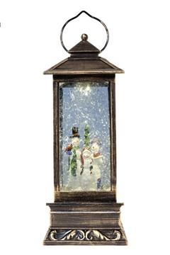 Schneelaterne mit Schneemänner, mit LED, bronze, 31cm, 1 Stk.