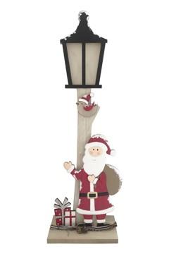 Weihnachtsmann an Laterne aus Holz 58 cm, mit LED Licht, 1 Stk.