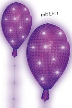 LED Ballon violett mit 8 Leuchtfunktionen, ca. 53cm, Ø35cm, 1 Stk.