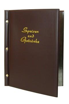 """Speisekarte (PVC) """"Speisen und Getränke"""" dunkelbraun, 8 Seiten, A4, 1 Stk."""