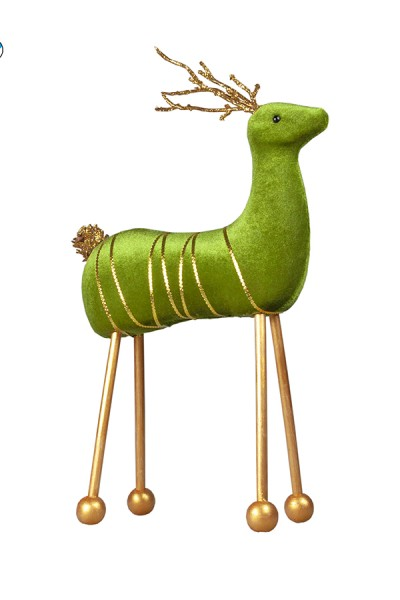 Hirsch aus Samt, grün, 34 cm