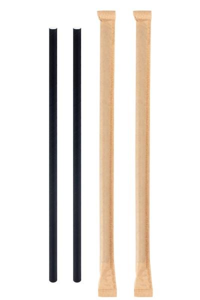 Trinkhalme aus Papier, dick, in Papier gehüllt, schwarz, Ø8mm, 25cm, 150 Stk.