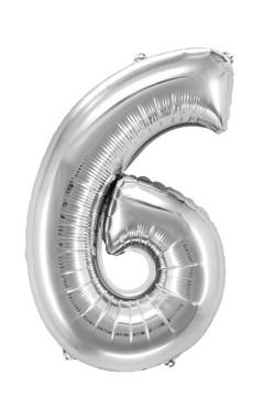 "Folienballon ""Zahl 6"", silber, ca. 82cm, 1 Stk."