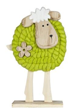 Schaf aus Holz und Wolle, 24.5 cm, 1 Stk.