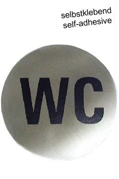 "Hinweisschild ""WC"" aus Edelstahl, Ø7.5cm, 1 Stk."