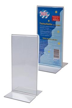 """Tischaufsteller """"T-Ständer"""" aus Acrylglas, 7x15cm, 1 Stk."""