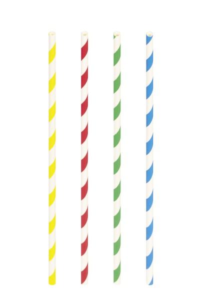 Trinkhalme aus Papier, bunt gestreift, Ø6mm, 21cm, 100 Stk.