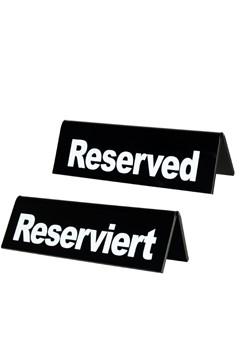 """Tischaufsteller """"Reserviert"""" aus Acrylglas, schwarz, 13x3.5x4cm, 1 Stk."""
