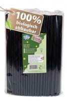 BIO Trinkhalme aus PLA, schwarz, Ø6mm, 21cm, 200 Stk.