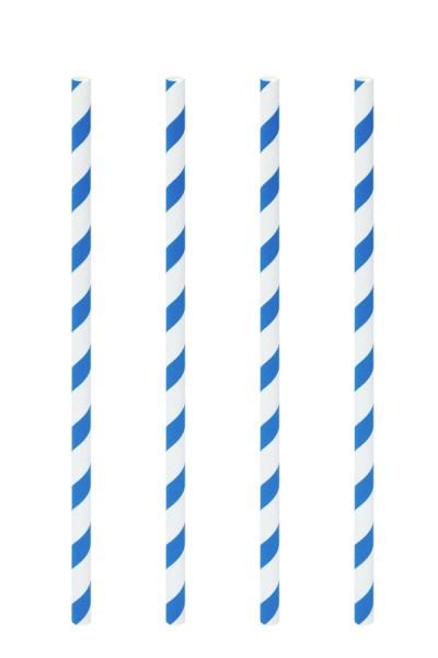 Trinkhalme aus Papier, blau/weiß, Ø6mm, 21cm, 100 Stk.