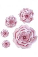 Blumen Set aus Papier, rosa, Ø10/15/20/30cm, 5 Stk.