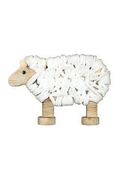 Schaf mit Wolle, aus Holz, 17cm, 1 Stk.