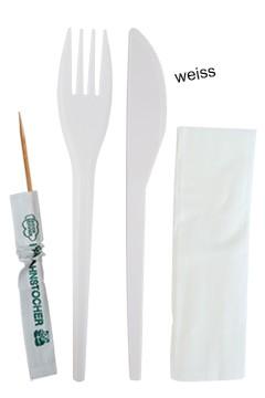 Besteckset aus PS, mit Serviette u. Zahnstocher, weiss, 17cm, 100 Sets