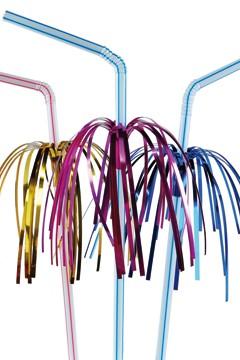 Trinkhalme mit Palme, flexibel, Ø5mm, 24cm, 50 Stk.
