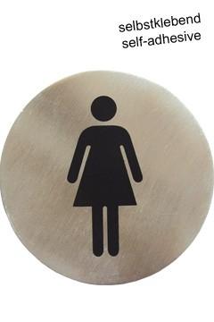 """Hinweisschild """"Damen"""" aus Edelstahl, Ø7,5cm, 1 Stk."""