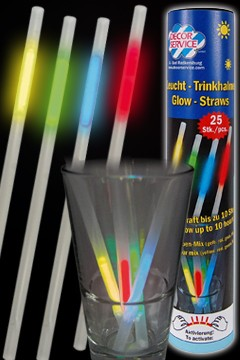 Leucht-Trinkhalme, bunt, Ø7mm, 23cm, 25 Stk.