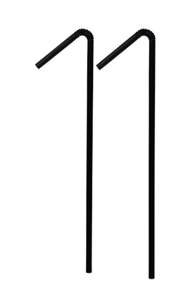BIO Trinkhalme aus PLA, flexibel, schwarz, Ø5mm, 24cm, 500 Stk.