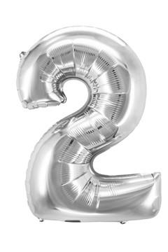 "Folienballon ""Zahl 2"", silber, ca. 83cm, 1 Stk."