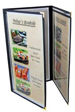 """Speisekarte """"American"""", A3 schmal, schwarz, 6 Seiten, 1 Stk."""