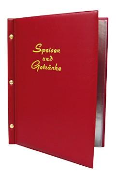 """Speisekarte (PVC) """"Speisen und Getränke"""" weinrot, 8 Seiten, A4, 1 Stk."""